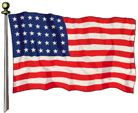 The 35-star American flag, following entry of West Virginia into the Union in 1863