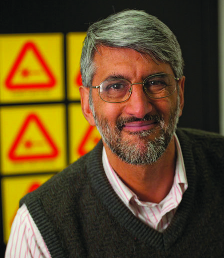 Professor Tiku Majumder in laser lab.